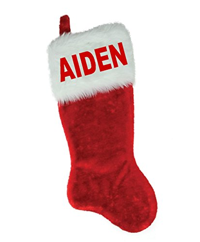 NAME (AIDEN) EMBROIDERED 18'' X 8.5'' Traditional Red and White Plush Christmas Stocking by Christmas STOCKING