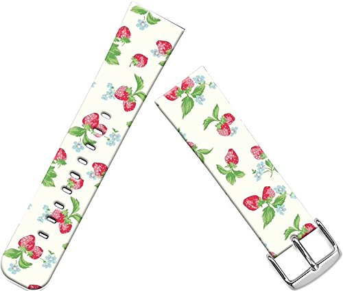Cisland Band for Apple Watch Leather,Band for Apple Watch 2 42mm Strap Series 2 Series 1 Compatible Replacement Red Strawberry Pattern Green Leaves ()
