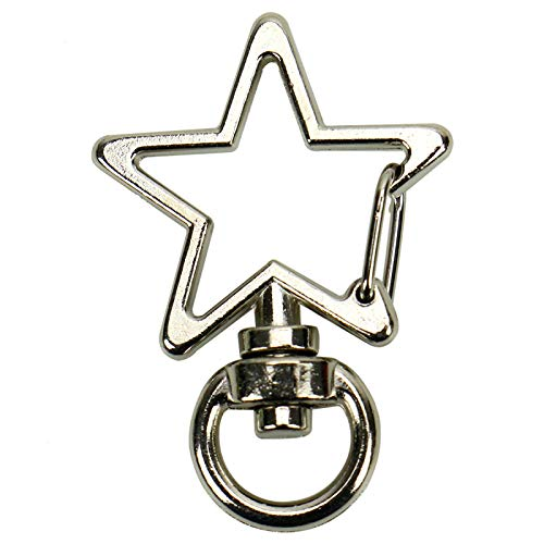 WSSROGY 30 Pcs Star Shaped Swivel Lobster Claps Claws Keychain Silver Snap Hook Clasps