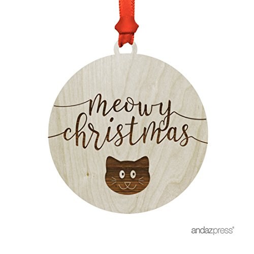 Andaz Press Funny Laser Engraved Wood Christmas Ornament with Gift Bag, Meowy Christmas, Cat Graphic, Round, 1-Pack