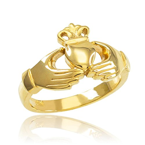 Classic 10k Yellow Gold Irish Heart Claddagh Wedding Engagement Ring, Size 10.5