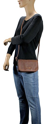 H1965 Laser Scarleton Flap Cut Bag Brown Crossbody Pattern 17PCUB