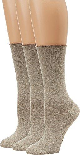 (HUE Women's Jean Sock 3 Pack, Oatmeal Heather, One)