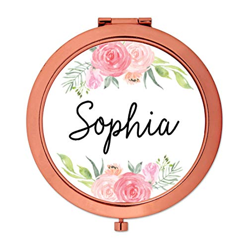 Andaz Press Personalized Compact Mirror Bridesmaid Wedding Gift, Rose Gold, Peach and Pink Roses, 1-Pack, Bachelorette Bridal Shower Wedding Party Gifts, Custom Name