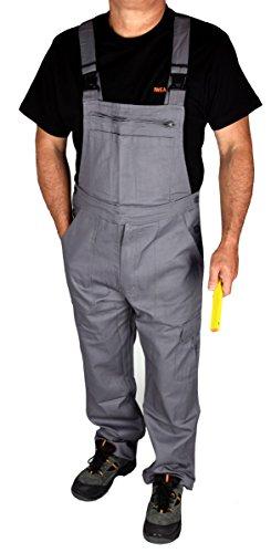 Stabile Heimwerker Arbeits-Latzhose Arbeitshose Arbeitskleidung in Grau - IW023 (50, Grau)