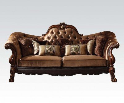 (Acme Furniture 52095 Dresden Sofa w/7 Pillows, Golden Brown Velvet & Cherry Oak)
