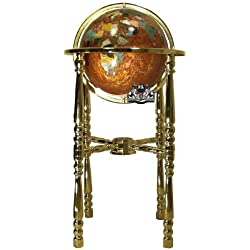 Unique Art 36-Inch Tall Amberlite Pearl Swirl Ocean Floor standing Gemstone World Globe with 4 Leg Gold Stand