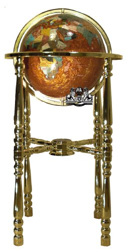 - Unique Art 36-Inch Tall Amberlite Pearl Swirl Ocean Floor Standing Gemstone World Globe with 4 Leg Gold Stand