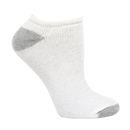 Fruit of the Loom Women's 6 Pack No Show Socks, White/Grey, Shoe Size: 8-12