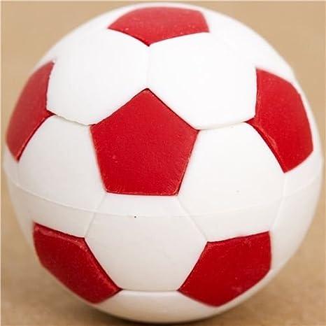 Goma de borrar balón de fútbol rojo y blanco por Iwako: Amazon.es ...