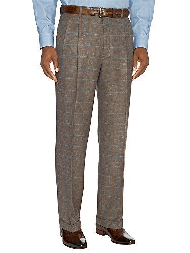 Paul Fredrick Men's Taupe Wool, Silk \ Linen Pleated Suit Pants Taupe 44