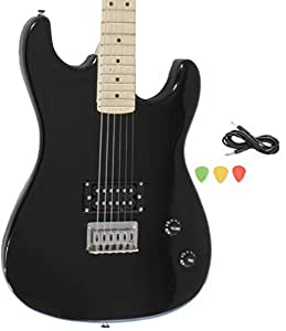 black full size electric guitar with cord and picks by davison musical instruments. Black Bedroom Furniture Sets. Home Design Ideas