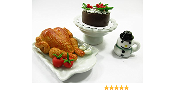 New Dollhouse Miniature Christmas Dinner Food Chicken lid Turkey Roast 1:12 D7F4