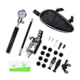 SODIAL Bicycle Repair Tools Kit - 140 PSI Mini Pump with Barometer Multi Tool Fix bag Including Glueless Puncture Repair Kit, Ball Needle for Outdoor Camping Bike Sports