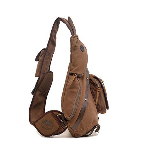 Shoulder Brown Canvas Chest Multifunctional Messenger Yxngbo Men's Large capacity Bag 4HYqFnx