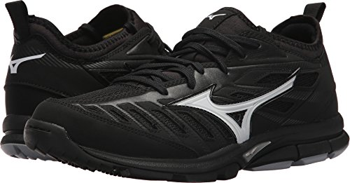 Male Baseball Player (Mizuno Men's Players Trainer 2 Turf Baseball-Shoes,Black/Black,10.5 D US)