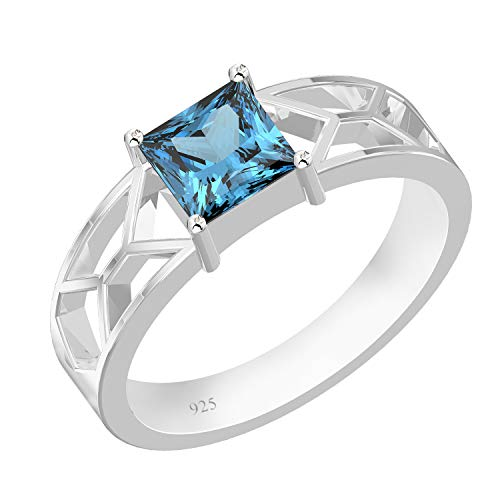 (Genuine Swiss Blue Topaz Square Solid 925 Sterling Silver Solitaire Ring For Women & Girls)