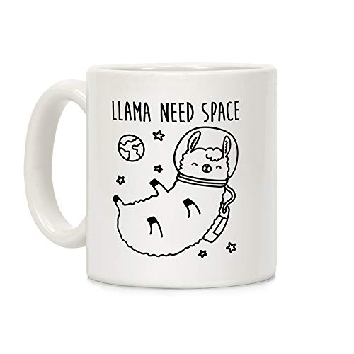 LookHUMAN Llama Need Space Parody White 11 Ounce Ceramic Coffee -