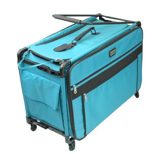 New Tutto 9224TMA Turquoise Sewing Machine on Wheels Case, 25 18.5 13
