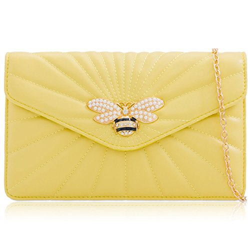 Broach Colours London Envelope Ladies Pastel Yellow Bag Evening Handbag Prom Women Leather Parties Xardi Clutch Faux Medium Dragonfly 8wqPqIda