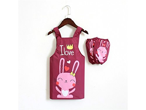 Kitchen Personalized Cartoon Rabbit Printed Letter Waterproof Apron for Baby Boy Girl Baking Art Lesson with Two Arms Sleeves(Dark Purple) Accesserios