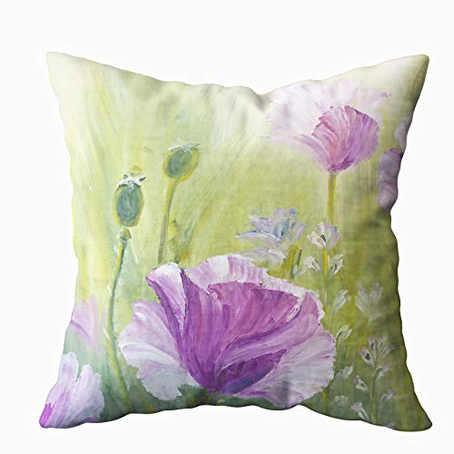 - Shorping Decorative Pillow Covers, Zippered Covers Pillowcases 16X16Inch Throw Pillow Covers Poppies in The Morning Oil Painting Canvas for Home Sofa Bedding