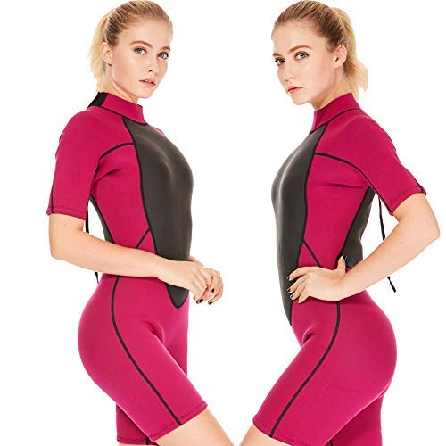 Flexel Wetsuit Women Shorty Full Diving Suits 1.5mm Premium CR Neoprene Adult's Swimwear Girls Swimsuit Jumpsuit Surfing Swimming Scuba Diving Snorkeling (1.5mm Rose, X-Large) by Flexel