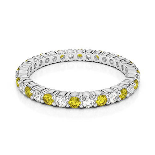 Or blanc 18 carats 0,40 CT G-H/VS sertie de diamants ronds Cut Saphir Jaune et éternité Bague Agdr-1110