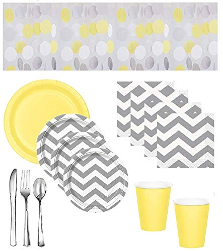 Gender Neutral Baby Shower Supplies - Gray Chevron Plates & Napkins With Yellow Plates & Cups, Coordinating Hanging String Decorations & Shiny Silver Premium Quality Plasticware - Serves 16 Guests -