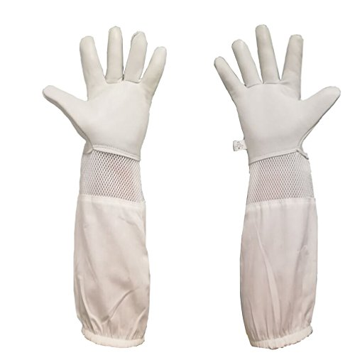 Luwint Premium Goatskin Beekeeping Gloves, Long Bee Beekeeper Gloves with Ventilated Mesh Between Canvas Sleeve and Elastic Cuffs (Medium, Gray/White) by Luwint
