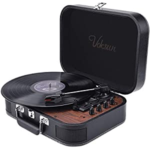 Record Player, VOKSUN Vintage Turntable 3-Speed 33/45/78 RPM Record Player with Bluetooth, Built-in 2 Stereo Speakers, Support Headphone & RCA Output and AUX (3.5mm) Input, Suitcase Design(Leather)