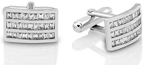 Mens-Sterling-Silver-925-Curved-Rectangle-Cufflinks-with-Baguette-Cut-Cubic-Zirconia-Stones-Platinum-Plated16mm-by-10mm-By-Sterling-Manufacturers