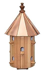Cedro 10agujero redondo Birdhouse con techo de cobre de alta Amish fabricado en EE. UU.