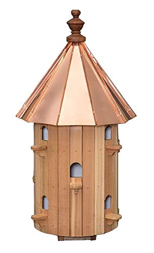 Cedar 10 Hole Round Birdhouse with High Copper Roof Amish Made in USA