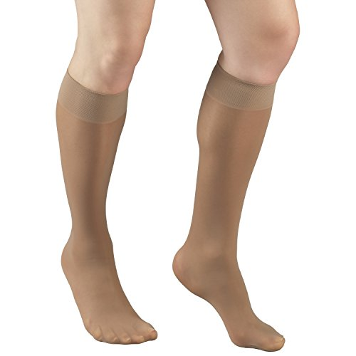 Truform Sheer Compression Stockings, 8-15 mmHg, Women's Knee High Length, 20 Denier, Beige, Medium