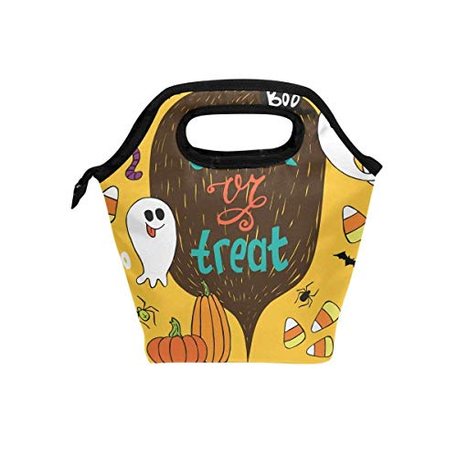 - Maozond8 Lunch Bag Trick Treat Halloween Lunch Bag Tote Handbag Lunchbox Food Container Gourmet Tote Cooler Warm Pouch for School Work Office
