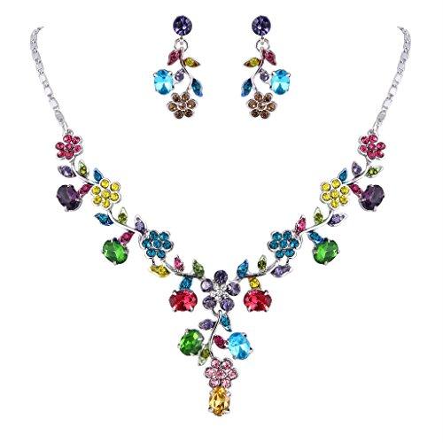 Necklace Crystal Earrings Floral (EVER FAITH Flower Leaf Necklace Earrings Set Austrian Crystal Silver-Tone - Multicolor)