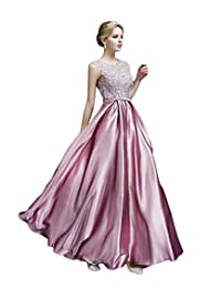 Drasawee Women Long Satin Bridal Dress Lace Prom Party Formal Gowns