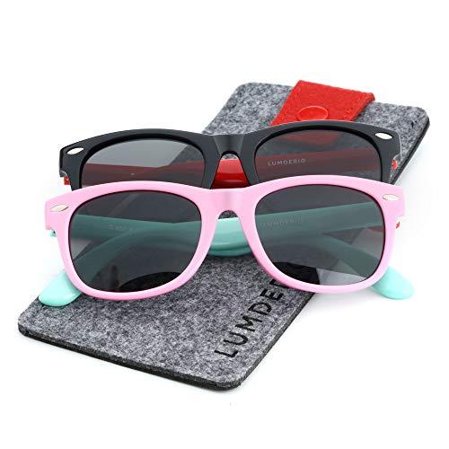 LUMDERIO Kids Polarized Sunglasses TPEE Rubber Flexible Eye Toddler Sunglasses for Boys Girls Age 2-10, 100% UV Protection