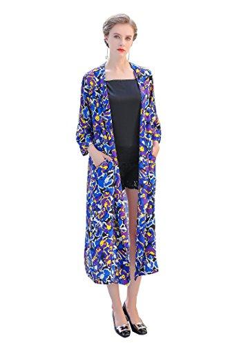 Silk Floral Coat (VOA Women's Floral Silk 3/4 Sleeve Cardigan Top Coat F7320)