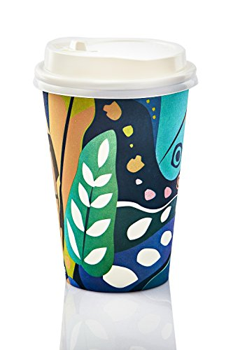 Beautiful 12oz Disposable Coffee Cups With Lids & Stirrers | Elegant Insulated Hot & Cold Drink Paper Cups | Perfect For Tea, Chocolate, Cocoa & Other Beverages | Eco-Friendly & Recyclable | 50-Pack