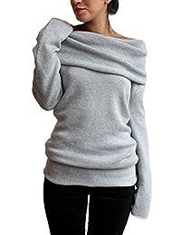 Women Elegant Casual Boatneck Fleece Thick Hoodie Sweater Sweatshirts Top