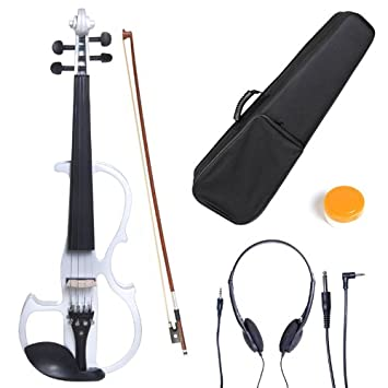 Cecilio CEVN-2BK Ebony Fitted Silent Electric Left-Handed Violin, Style 2, Metallic Black, Size 1/2 L1/2CEVN-L2BK