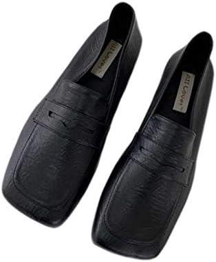 [ADSNS] ローファー パンプス レディース シンプル プレーンヒール ローヒール コスプレ スリッポン フラット シューズ 黒 軽量 おしゃれ かわいい 歩きやすい カジュアル 学生靴 リクルート スクエアトゥ ローファー パンプス
