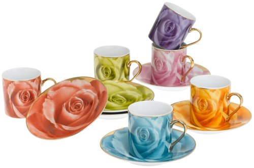 Yedi Houseware Classic Coffee and Tea Rose Espresso Cups and Saucers, Set of 6