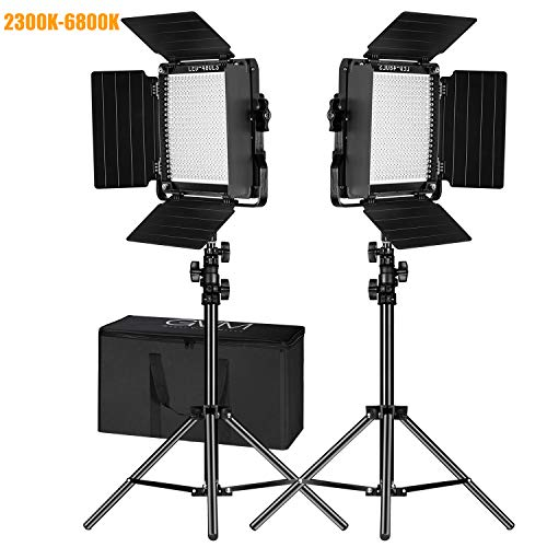GVM 2 Pack Video Lighting Bi-Color LED Video Light Variable 2300K~6800K with Digital Readout for Studio Brightness of 10~100% Metal Housing for Video Photography Lighting Kit 29W CRI97+ TLCI97 +