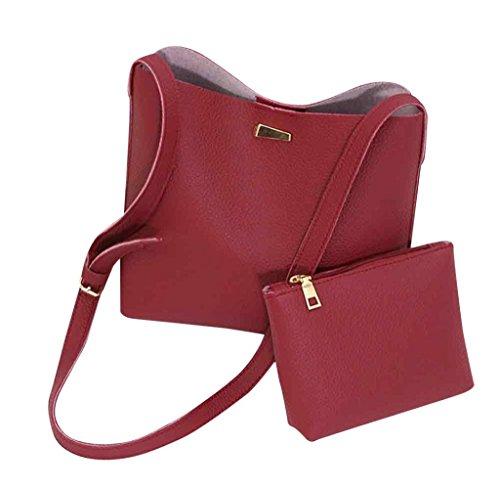 Tongshi 2pc moda mujeres Simple mensajero bolsas bolsas Mini mujeres bolso de hombro rojo