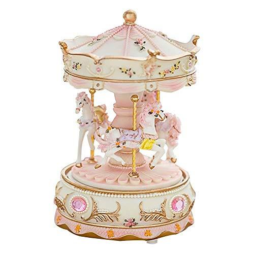 Cherry-Lee Carousel Music Box, Children Girls Romantic Music Box Kids Children Girls Colorful Home Decoration Carousel Decoration (Mini)