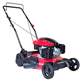 PowerSmart DB8621C Gas Push Mower, Red, Black 10 Easy pull starting 2-in-1 side discharge and mulching capability allows you to spread grass clippings to the side, returning key nutrients to your lawn so your grass can grow healthy and thick 5-Position Height adjustment allows you to change the cutting Height to easily cut grass, weeds and overgrowth, and the 8-inch rear wheels make it easy to push.