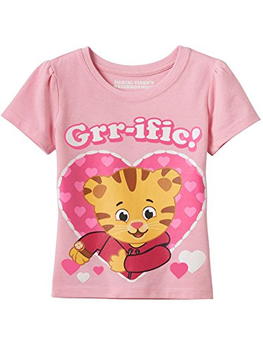 Daniel Tiger Girls Short Sleeve Tee (3T, GRR-ific Pink)